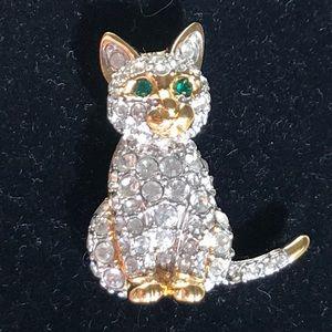 Swarovski crystals cat pin